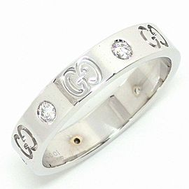 Gucci 18K White Gold Diamond Ring Size 7.75