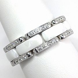 Chanel 18K White Gold Ceramic Diamond Ring Size 7.75