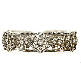 Judith Ripka Diamonique Filigree Cuff Bracelet Sterling Silver Floral Open Work