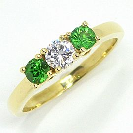 Tiffany & Co. 18K Yellow Gold Diamond, Tsavorite Garnet, Tsavorite Ring Size 5.75