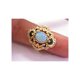 18K Yellow Gold Opal, Onyx, Diamond Ring Size 5.75
