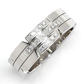 Cartier Tank Francaise 18K White Gold Diamond Ring Size 10.25