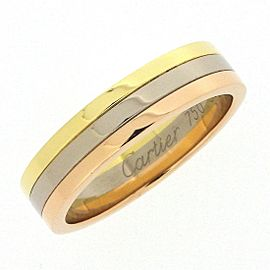 Cartier Trinity Wedding 18K Tri-Color Gold Ring Size 6.25