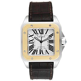Cartier Santos 100 Steel Yellow Gold 38mm Mens Watch W20072X7