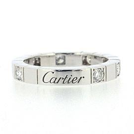Cartier 18K WG Lanieres Half Diamond Ring Size 4.5