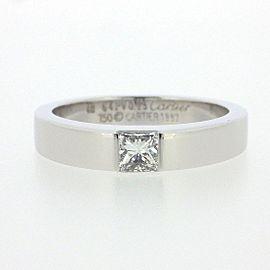 Cartier 18K WG Tank Princess Cut Diamond Ring Size 4.5