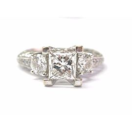 18K White Gold 1.98ctw Princess Cut Diamond Engagement Ring Size 4