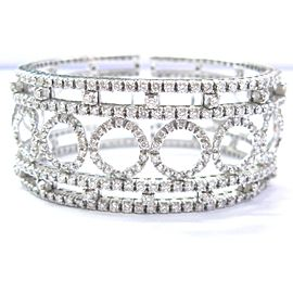 18K White Gold 3.52ctw. Round Brilliant Diamond Circular Cuff