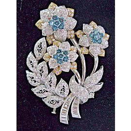 18K Yellow Gold Bouquet of Flowers 2-Tone Modern Art Deco 10.39ctw Diamond Brooch