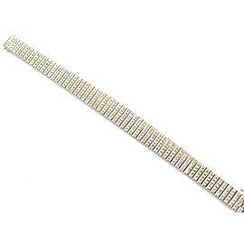 18K Yellow Gold 7.26ctw Round Cut Diamond Wide Tennis Bracelet