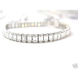 18k White Gold 14.75ctw Emerald Cut Diamond Tennis Bracelet