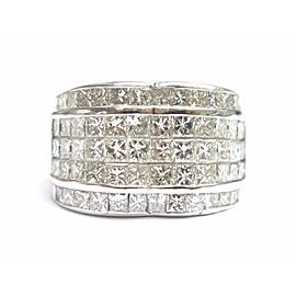 18K White Gold 4.06ctw Princess Diamond Ring Size 5.25