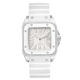 Cartier Santos 100 White Rubber Strap Steel Ladies Watch W20129U2