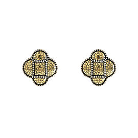 JOHN HARDY 18K Yellow Gold 925 Sterling Silver Dot Earrings 18.5 Grams