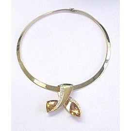 14K Yellow Gold Citrine Diamond Bypass Necklace