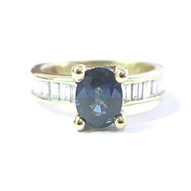18K Yellow Gold Sapphire Diamond Ring Size 8.5