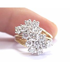 14K Yellow Gold Cluster Diamond Ring Size 4.75