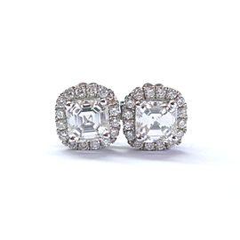 14K White Gold Asscher & Round Cut Diamond Earrings
