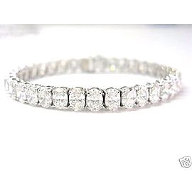 18K White Gold Oval Cut Diamond Tennis Bracelet