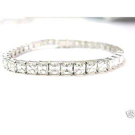 18K White Gold Asscher Cut Diamond Tennis Bracelet