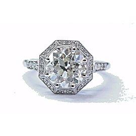 Platinum Old European Diamond Halo Engagement Ring Size 6.5