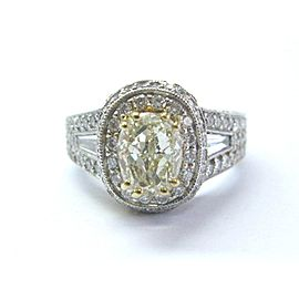 18K White Gold and Yellow Gold Diamond Engagement Ring Size 7