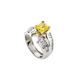 14K White Gold 1.46Ct Diamond 1.75Ct Fancy Yellow Canary Ring 8.7 Gram Size 6.25