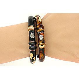 18K Yellow Gold, Sterling Silver Enamel Diamond Bracelet