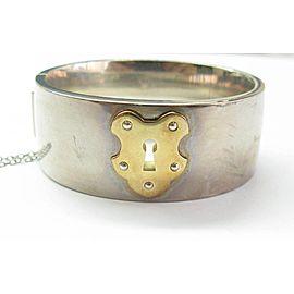 Tiffany & Co. 18K Yellow Gold Sterling Silver Vintage Key Lock Bracelet