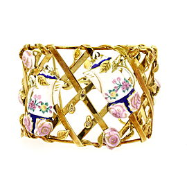 Peter Lindeman 18k Gold Diamond Bracelet Cuff Enamel Tea Pots Flowers Leaves