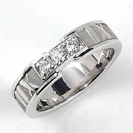 Tiffany & Co. 18K WG Atlas 3 Point Diamond Ring Size 5