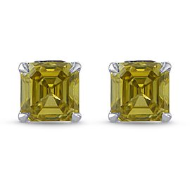 Leibish Platinum with 0.54ct Fancy Brownish Greenish Yellow Diamond Stud Earrings