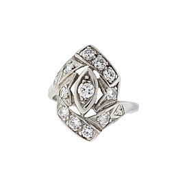 14K White Gold Diamond Ring Size 8.75