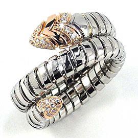 Bulgari 18K RG Serpenti Tubogas Diamond Ring Size 9