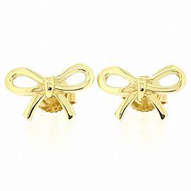 Tiffany & Co. 18K YG Bow Pierced Earrings