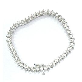14K White Gold Round Cut Diamond Tennis Bracelet