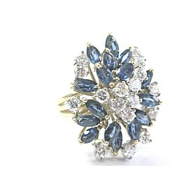 14K Yellow Gold Sapphire Diamond Cluster Ring Size 4.5