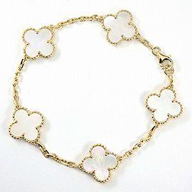VanCleef&Arpels 18K YG Alhambra White Shell Bracelet