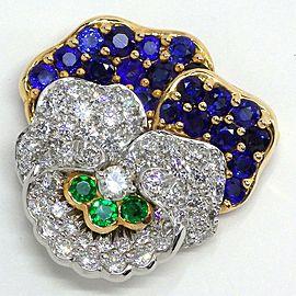 Tiffany & Co. YG Platinum Diamond, Sapphire Brooch