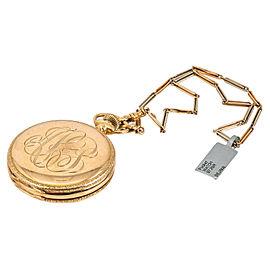 "Vintage ELGIN 14K Yellow Gold White Dial Pocket Watch Two Tone 14K Gold Chain14"""
