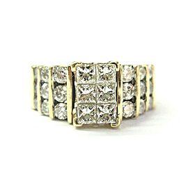 14K Yellow Gold Princess & Round Cut Diamond Ring Size 8.5