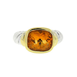 David Yurman Sterling Silver Citrine Ring Size 5.75
