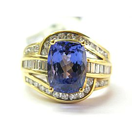 18K Yellow Gold Tanzanite Diamond Ring Size 8