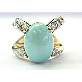 14k Yellow Gold Persian Turquoise & Diamond Ring Size 6