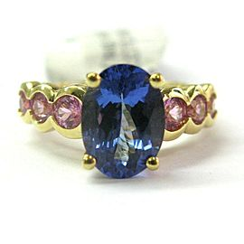 18K Yellow Gold Oval Tanzanite & Pink Sapphire Ring Size 6.25