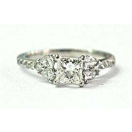 18K White Gold Princess Pear & Round Shape Diamond Engagement Ring Size 6.25