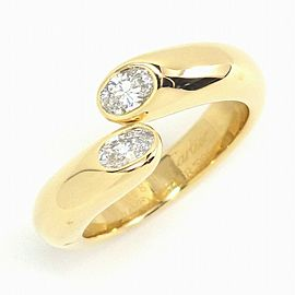 Cartier 18YG Ellipse Deux Tetes Diamond Ring Size 5.75
