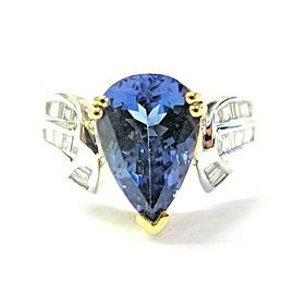 18K Yellow and White Gold Pear Tanzanite & Diamond Ring Size 7