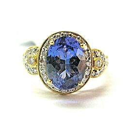 18K Yellow Gold Tanzanite & Diamond Ring Size 7