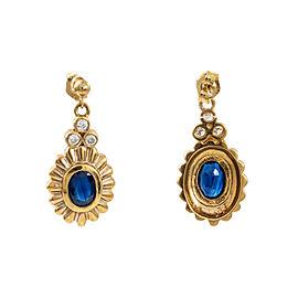 14K Yellow Gold 2 Ct Sapphire 0.24 Ct FVS1 Diamond Dangle Earring 6 Grams 12 mm